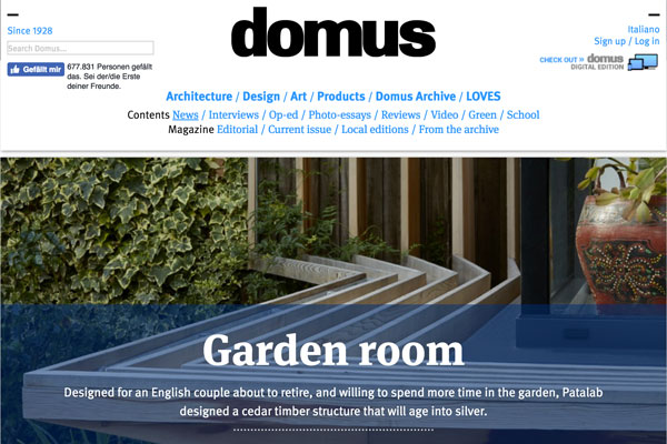 Screenshot of Domus website, an online design platform