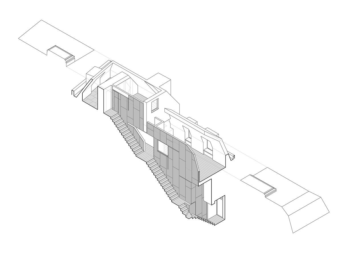 Kaskadenhaus, Axonometrie