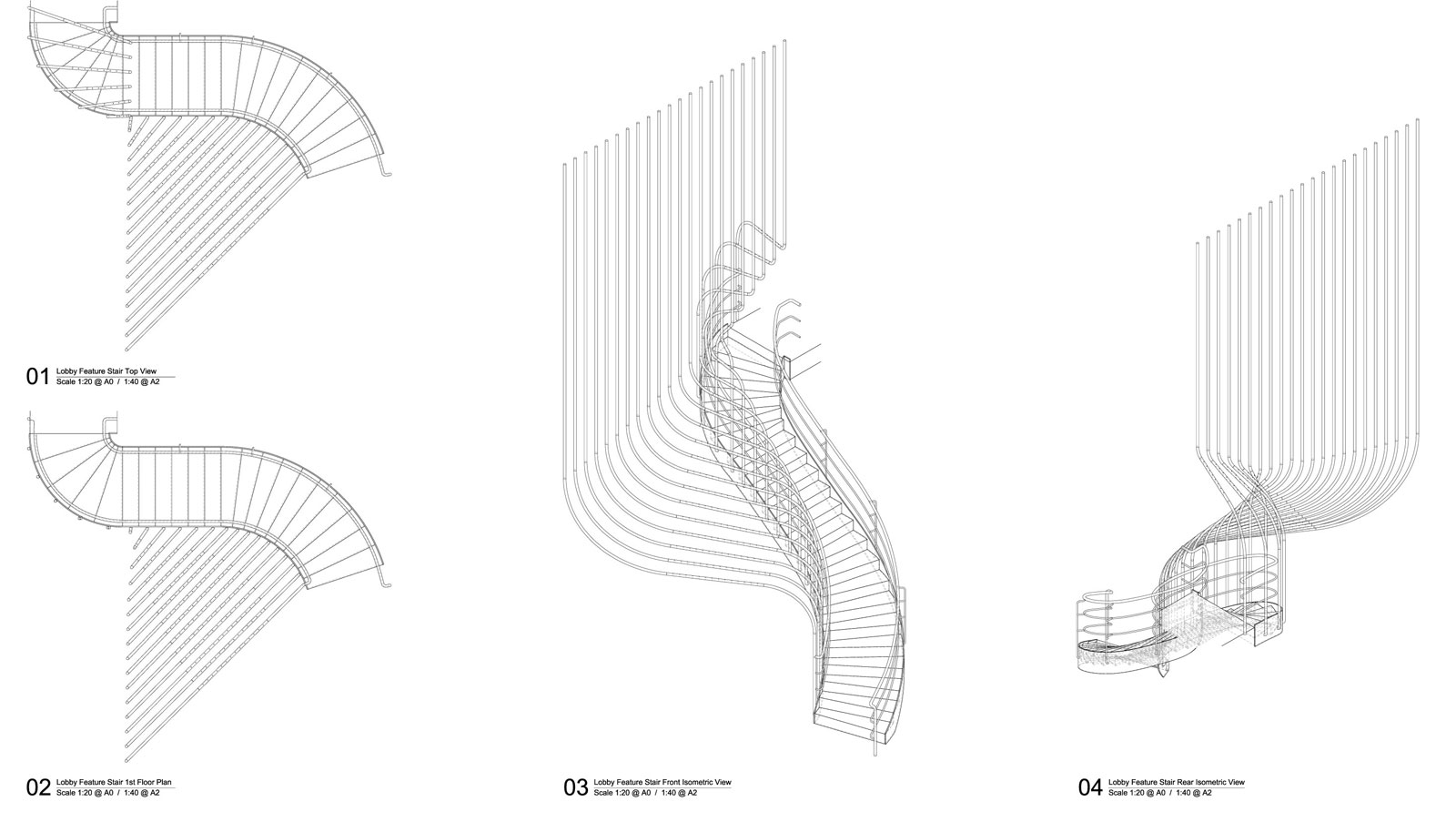 line drawing of sculptural staircase
