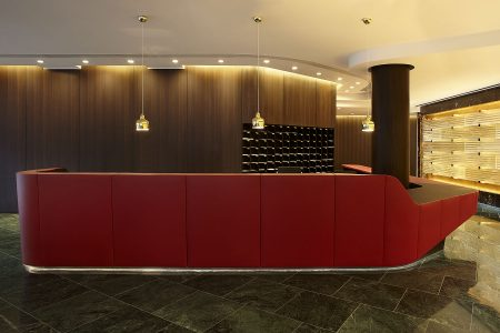 Leather reception desk in Marconi House entrance lobby