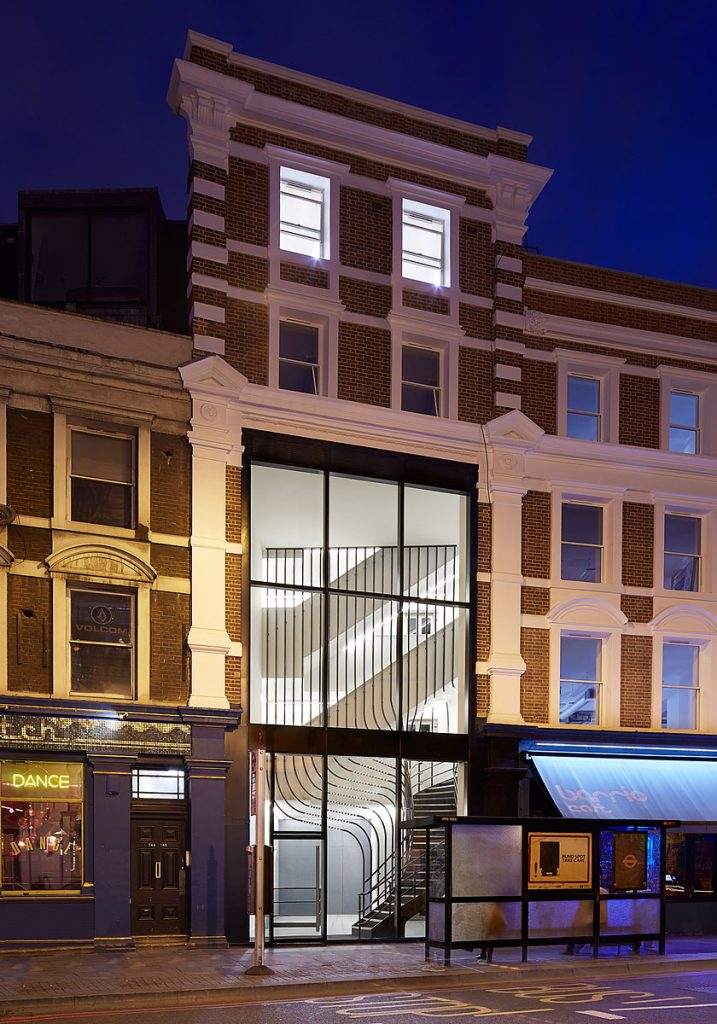 External night view of office refurbishment at 141-143 Shoreditch High Street