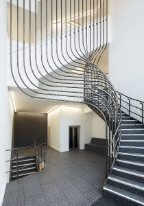 Curved sculptural steel staircase