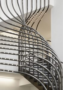 Curved steelwork with integrated LED lighting