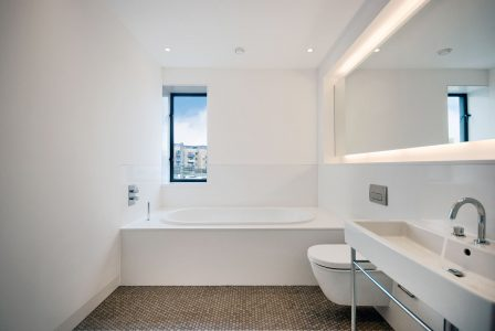 Contemporary bathroom with marble mosaic flooring