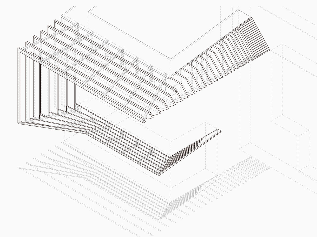 line drawing of sculptural brise-soleil