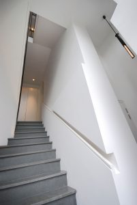 Clifton Hill House, tapered staircase leading to garden