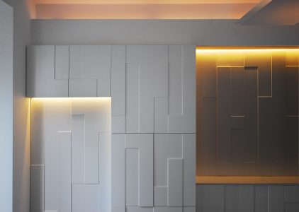 Clifton Hill House, lid built-in joinery