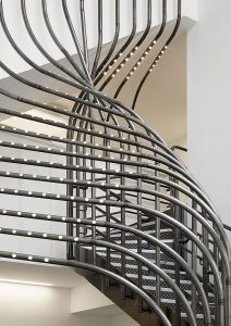 Curved steel work with integrated lighting