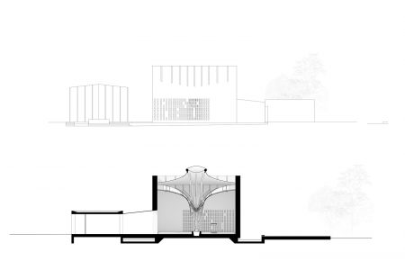 Centenary Chapel, drawing of elevation and section