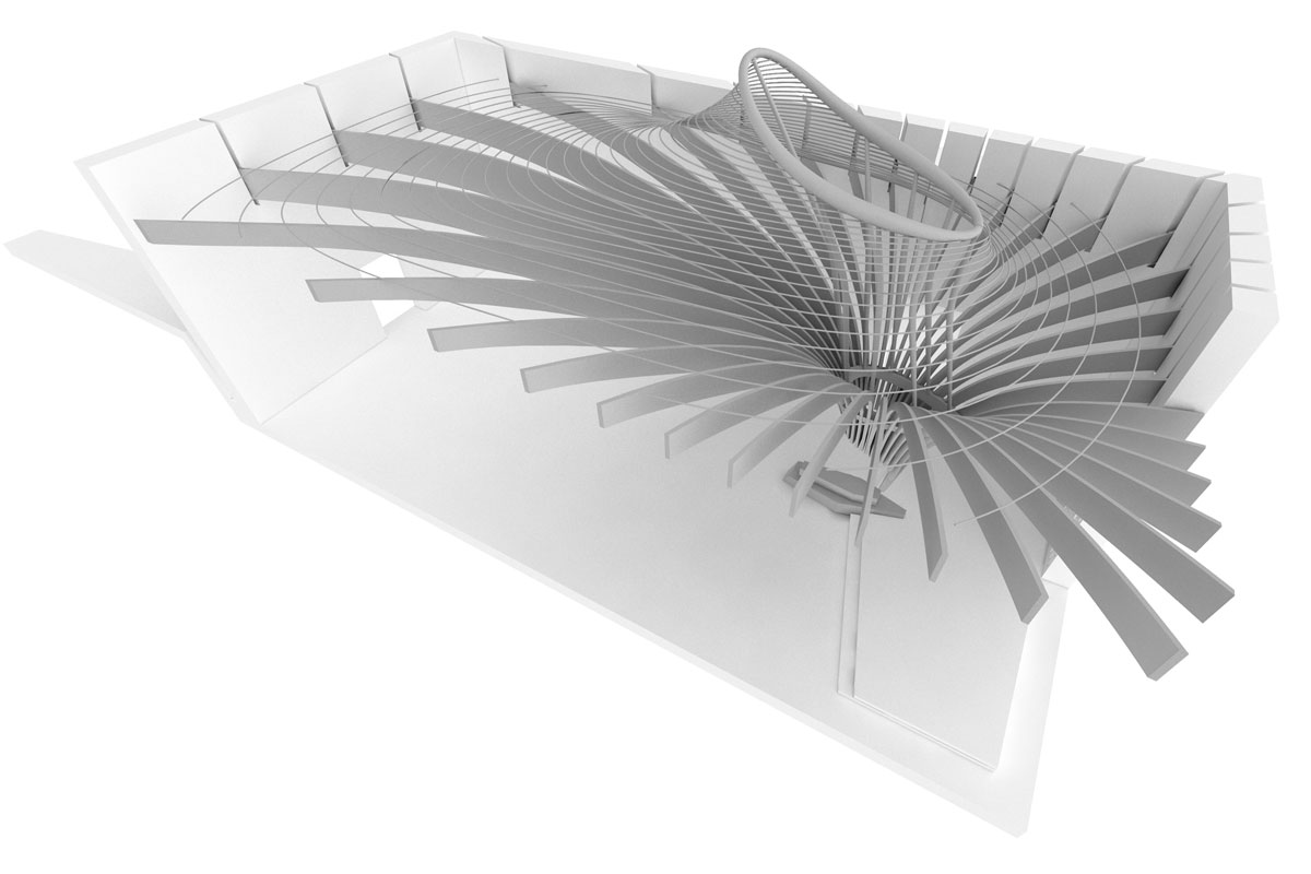 Centenary Chapel, 3d drawing of roof structure