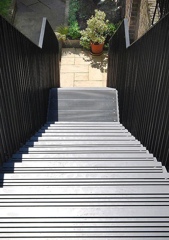 Garden staircase, view from above of steel Garden staircase