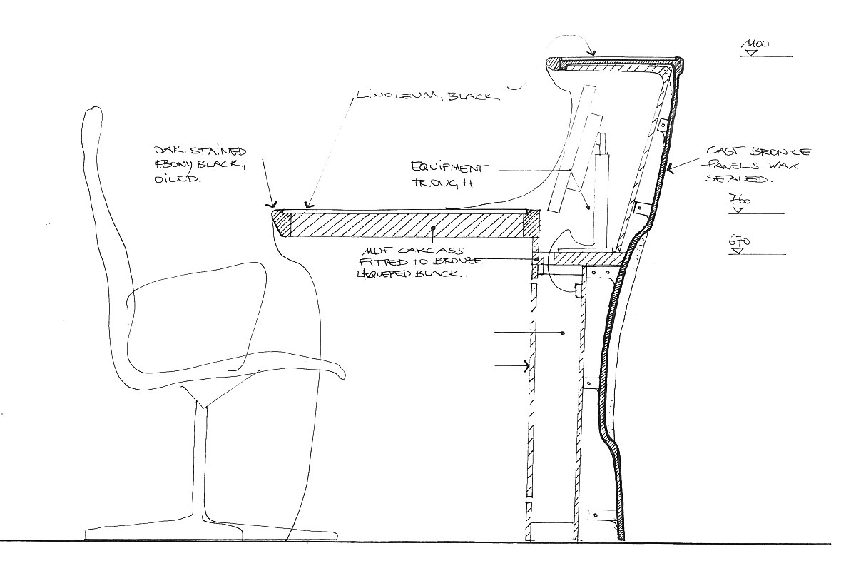 Grosvenor Street, design sketch of reception desk