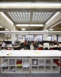 Middlesex House, open plan office with glass block ceiling