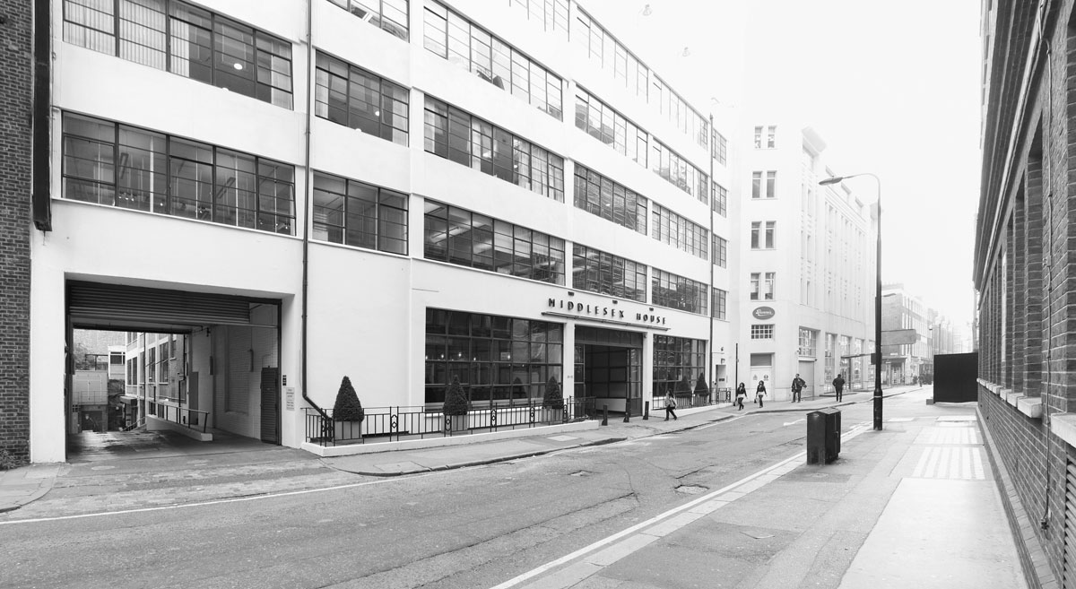 Middlesex House, street entrance before construction