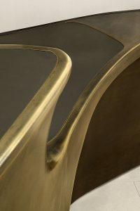 Bronze reception desk, detail