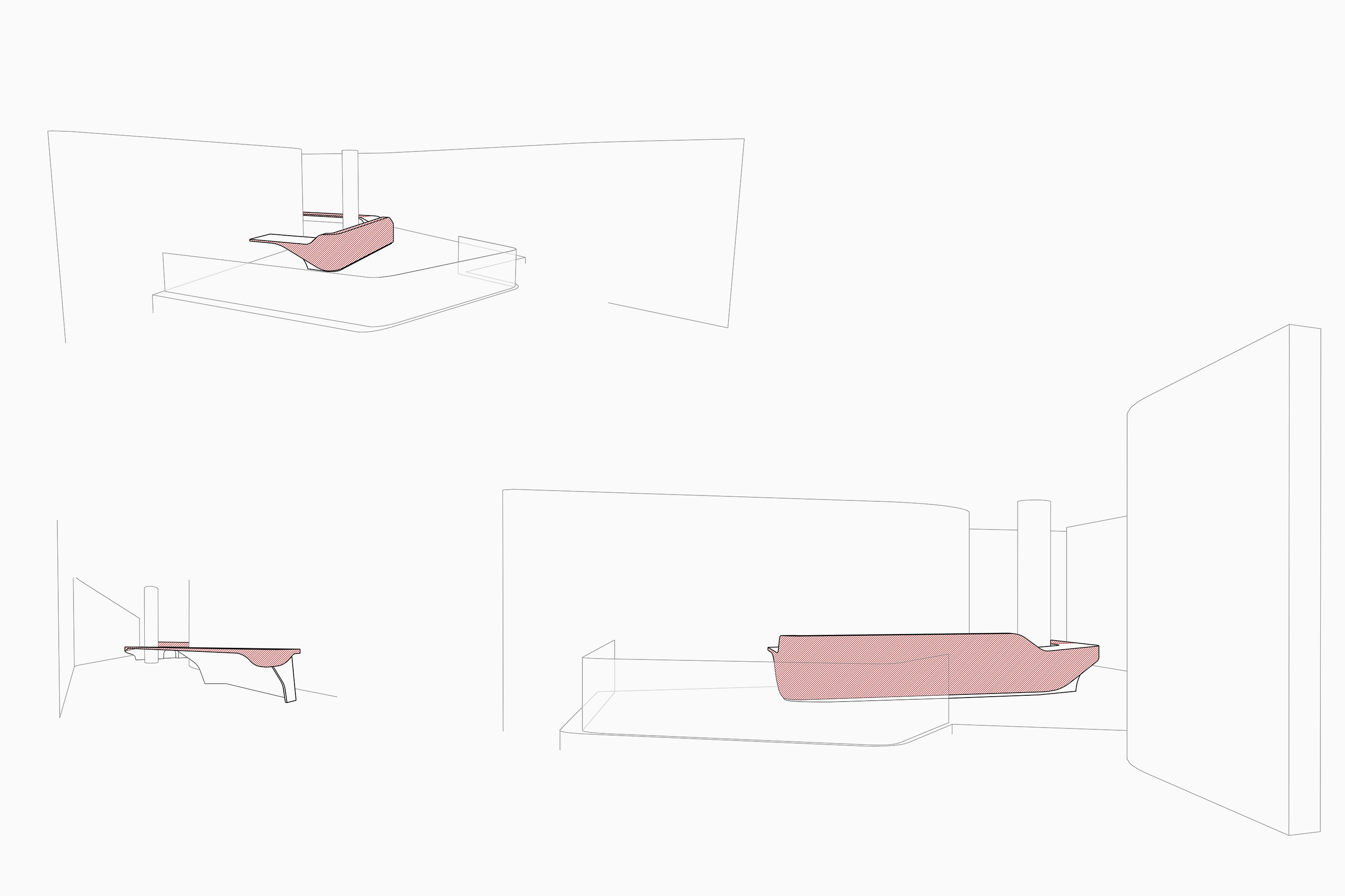 perspective drawings of leather reception desk