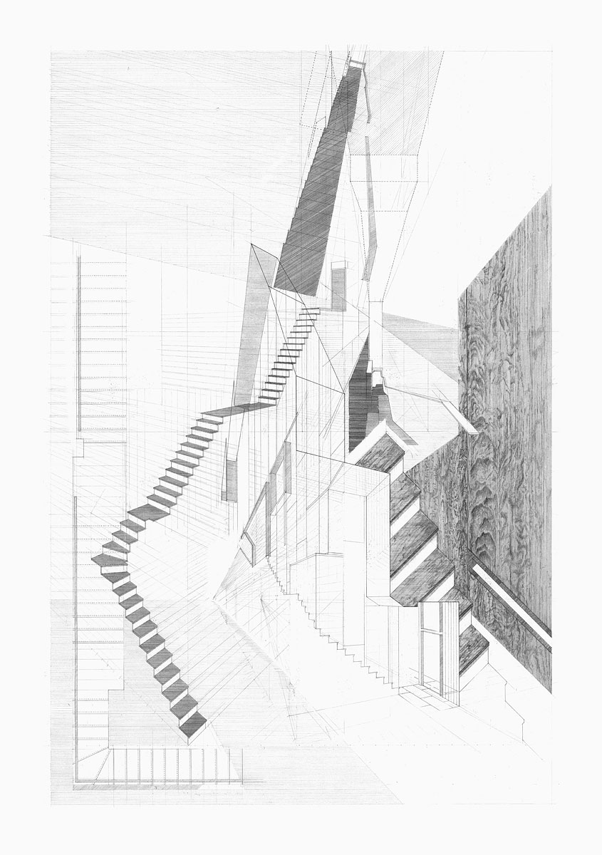 Staircase, design drawing Cascade House