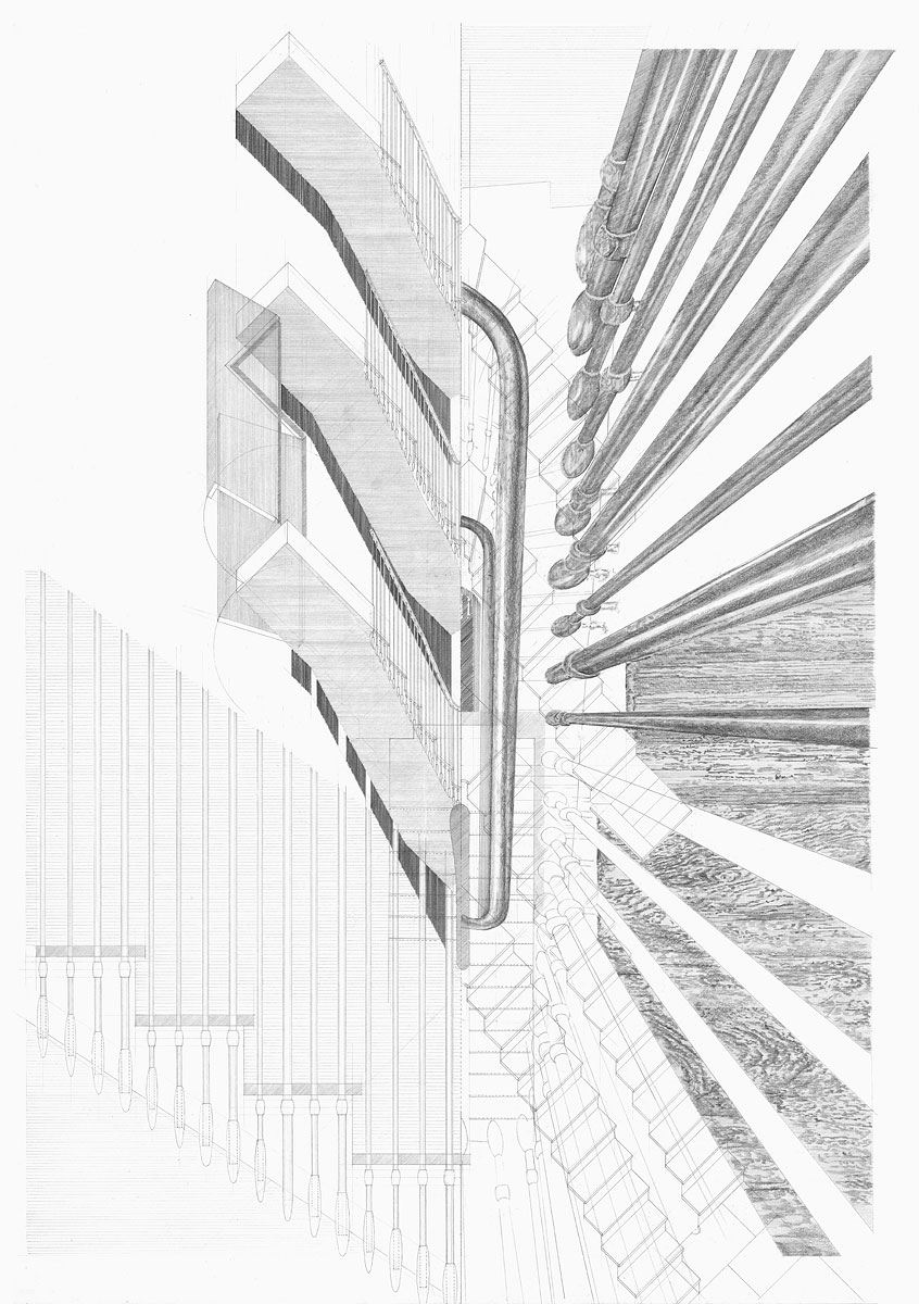 Staircase, design drawing Argyll House