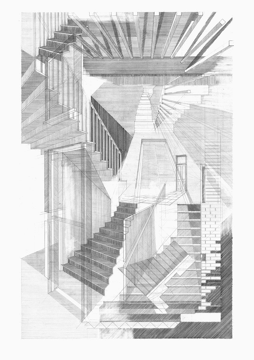 staircase, design drawing Clifton House
