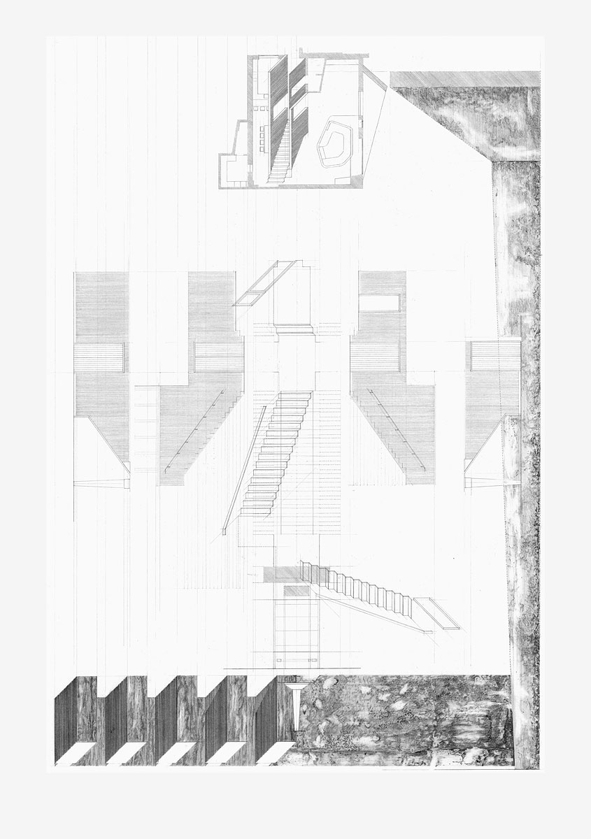 Staircase, design drawing The Gables