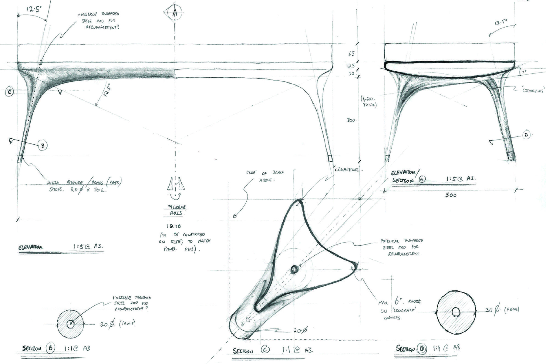 Sketches of bespoke bench