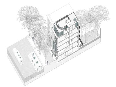 Axonometric drawing showing both external and internal arrangement of the building