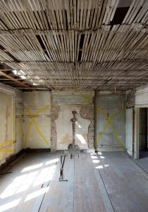 Original ceiling lath and floorboards