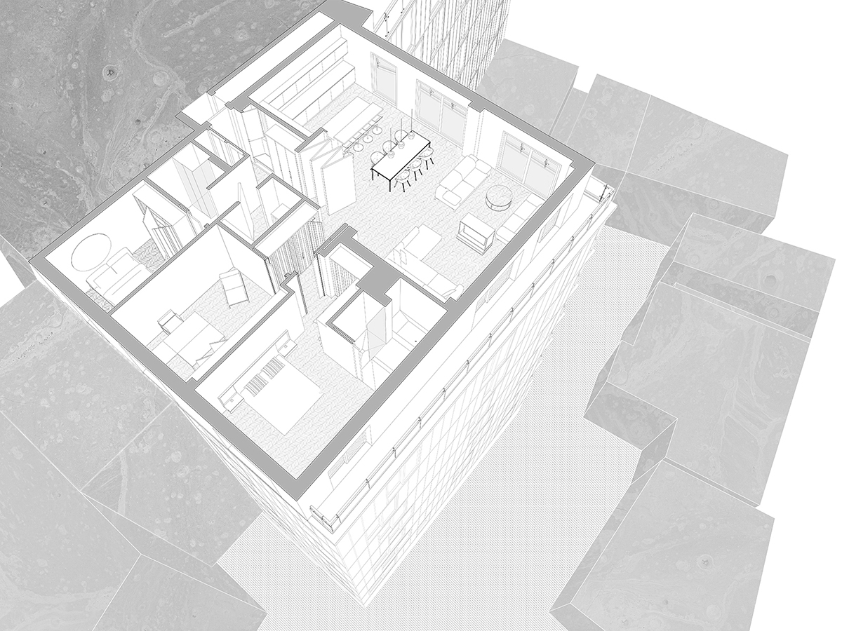 Axonometric line drawing of EC1 Penthouse