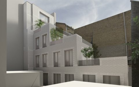 Visualisation of proposed rear office building extension in Mayfair