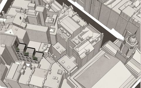 Aerial view of proposed rear office building extension in Mayfair city block
