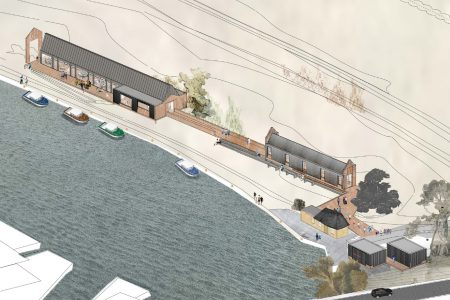 Axonometric drawing of Norfolk Broads Visitor's Centre