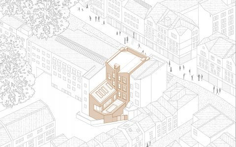 Hampstead Mixed Use Development: Axonometric drawing showing the proposal in context of the Hampstead conservation area