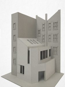 Hampstead Mixed Use Development: Physical model showing new rear extension to Victorian building on Hampstead High Street