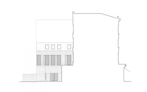 Hampstead Mixed Use Development: Section drawing showing elevation of new rear extension on Hampstead High Street