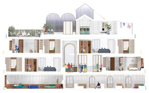 Design drawing showing the internal configuration of the co-living scheme