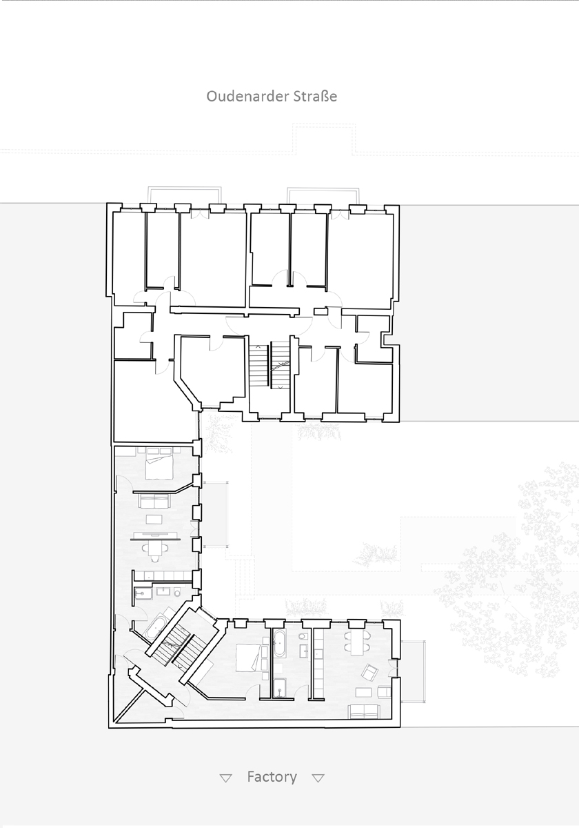 Refurbishment Berlin apartments, Floor layout upper floors at Oudenarder Str. 29, Berlin Wedding
