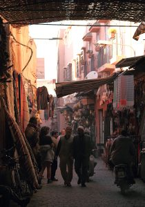 Marrakech, street scene in Medina