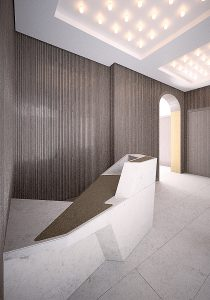 Marylebone Office Refurbishment, visualisation entrance lobby