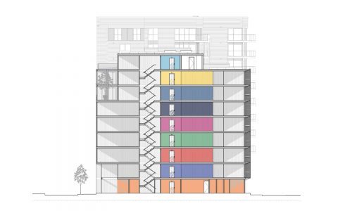 Shipping container building, section