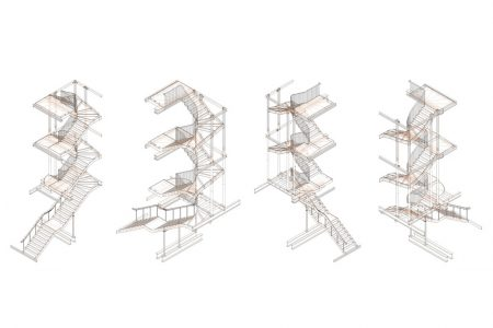folded steel staircase, axonometric drawing