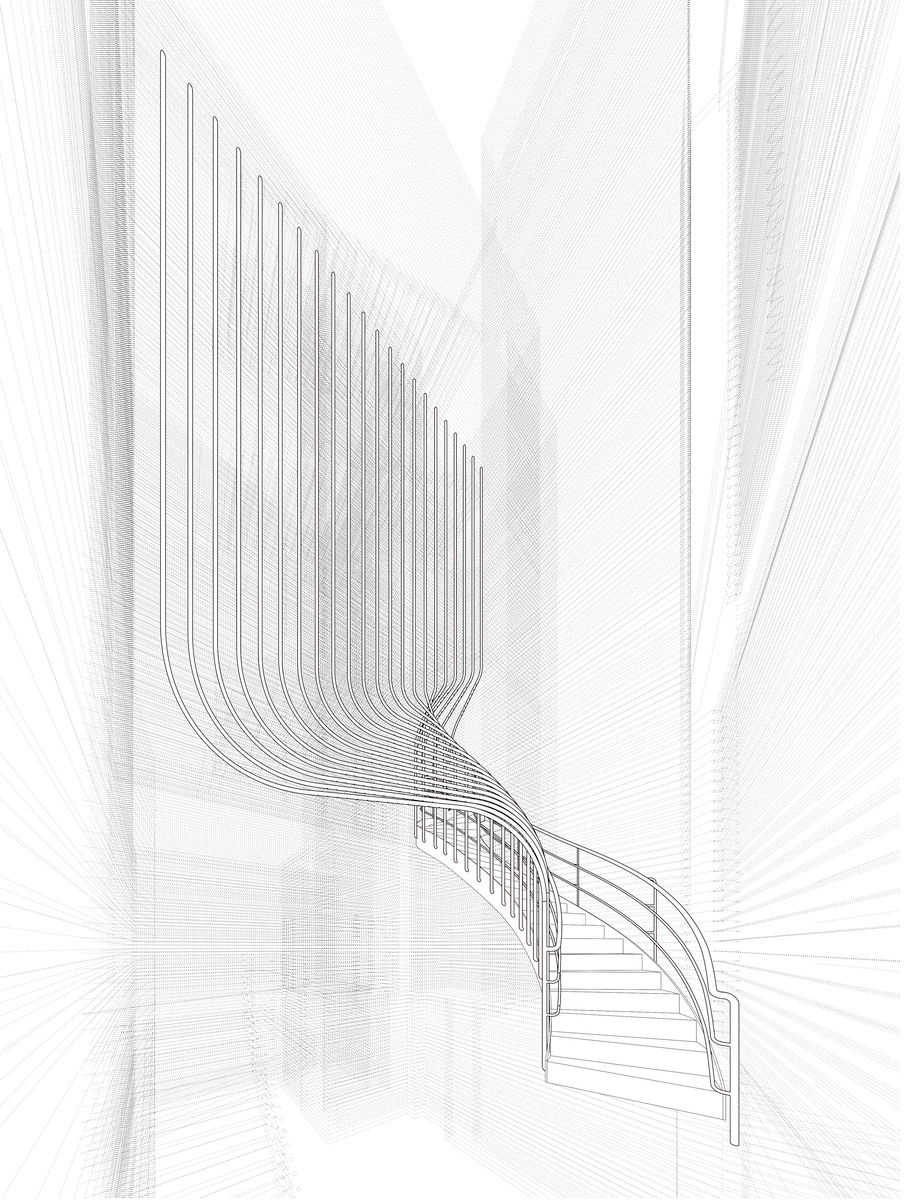 141-143 Shoreditch High Street, staircase design drawing