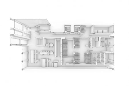 Container Architektur, Perspektive Erdgeschoss