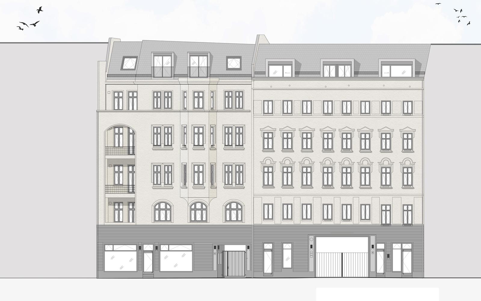 Ansichtszeichnung Reinickendorfer Straße 65 & 66