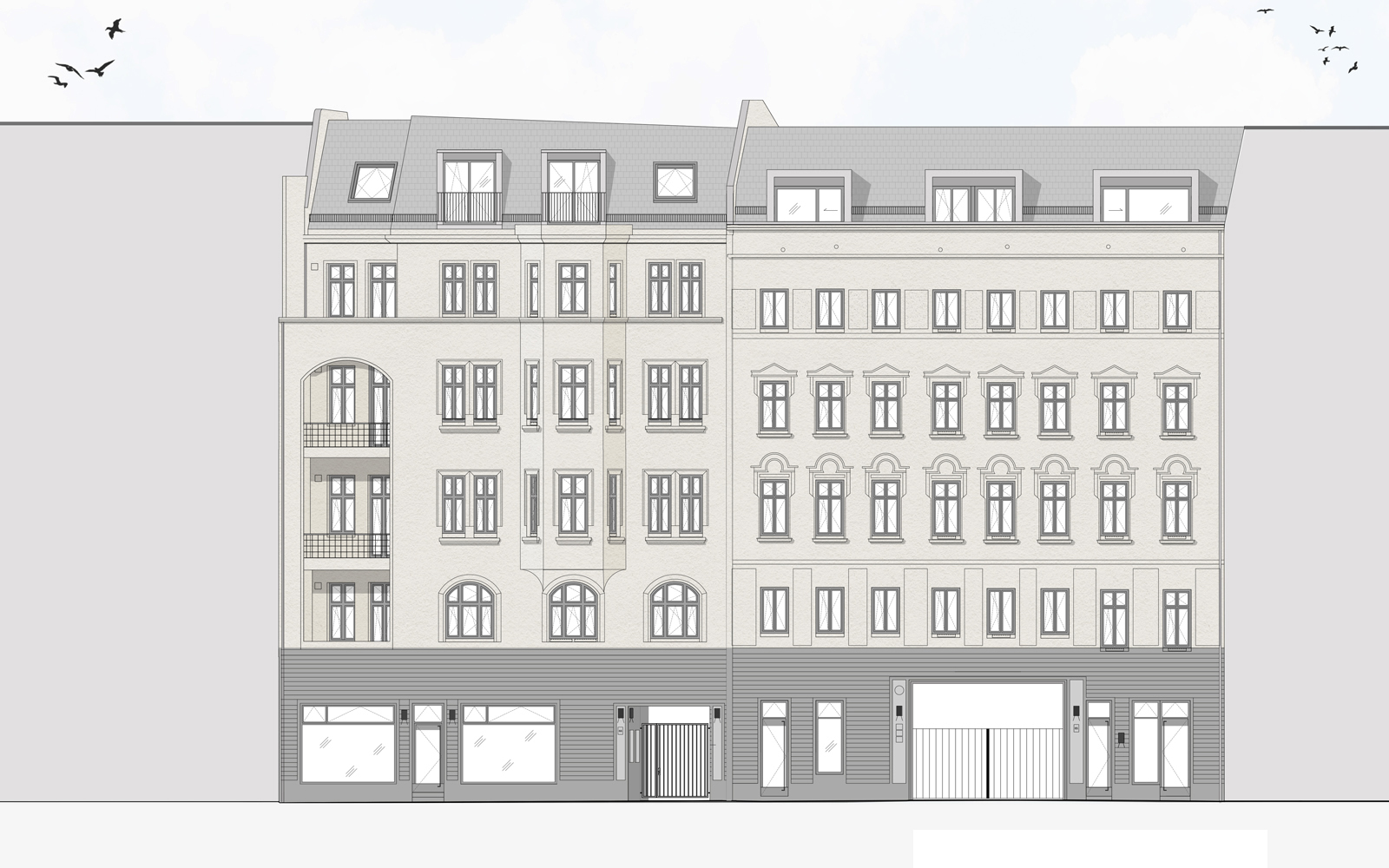 Property renovation Berlin, Street elevation
