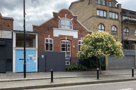 office to school conversion, street facade
