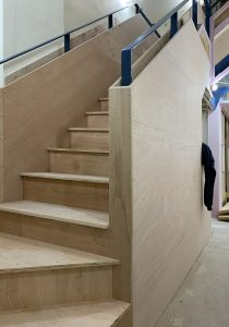 office to school conversion, overclad stairs