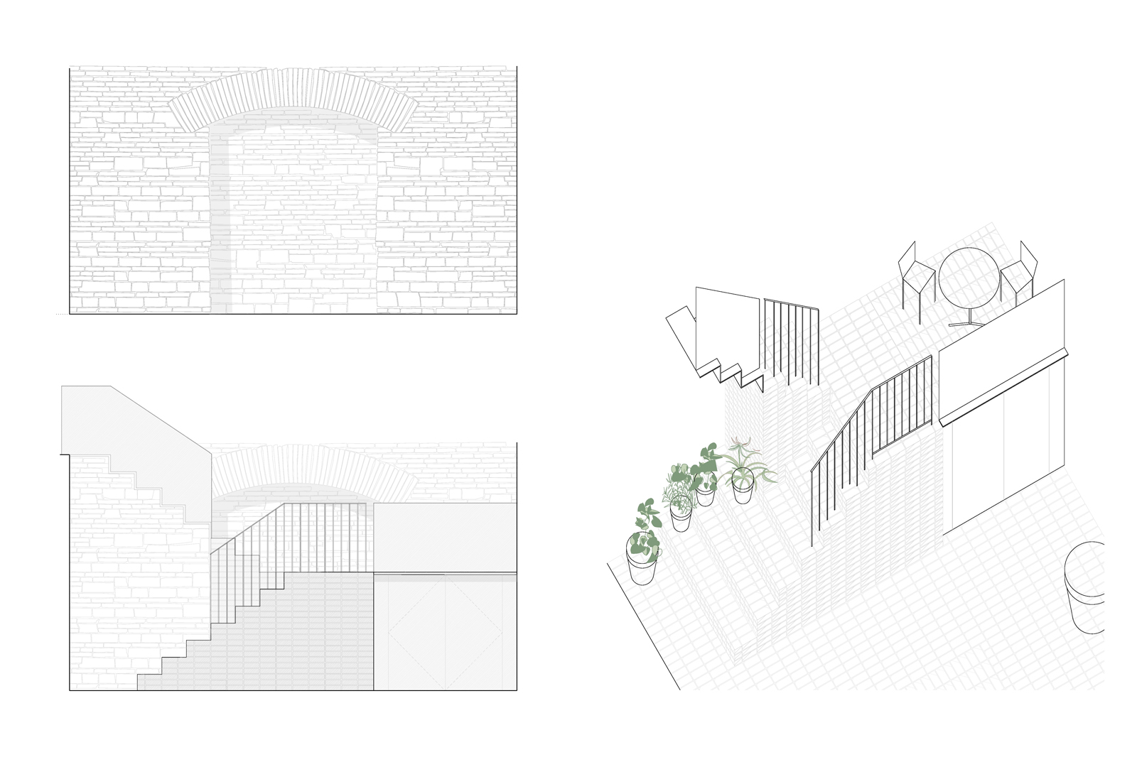 External staircase, detailed drawing