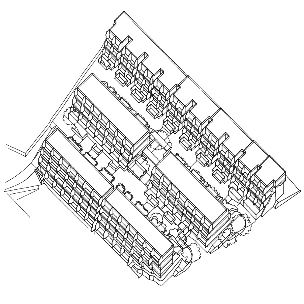 Highgate New Town, axonometric of cluster