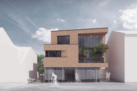 Neubau Wohn und Geschäftshaus, Visualisierung Straßenfassade