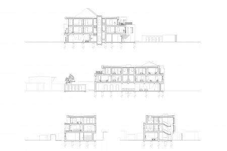 Neubau Wohn und Geschäftshaus, Schnitte